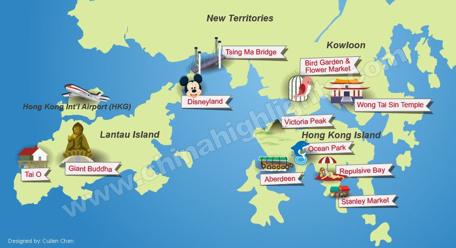 Hong Kong Highlights Map