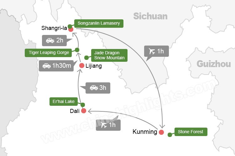 yunnan tour planning guide map