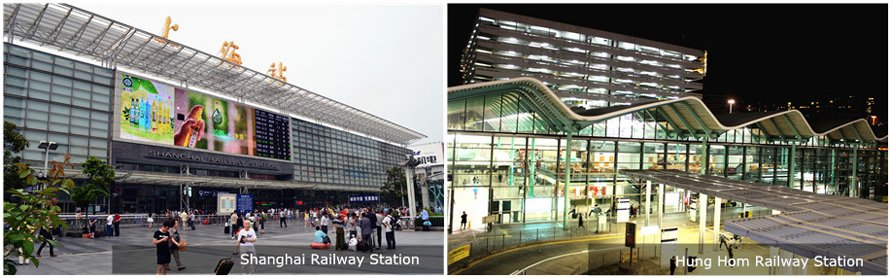 shanghai railway station and hung hom railway station