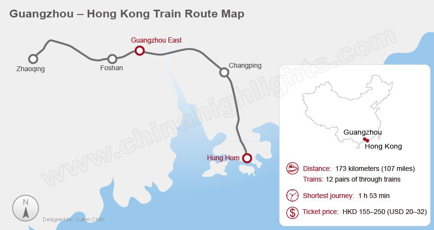 Guangzhou Hong Kong International Train Railway Map