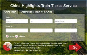 China Highlights Train Ticket Booking webpage