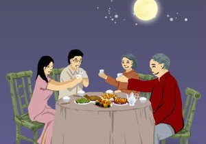 Having dinner with families