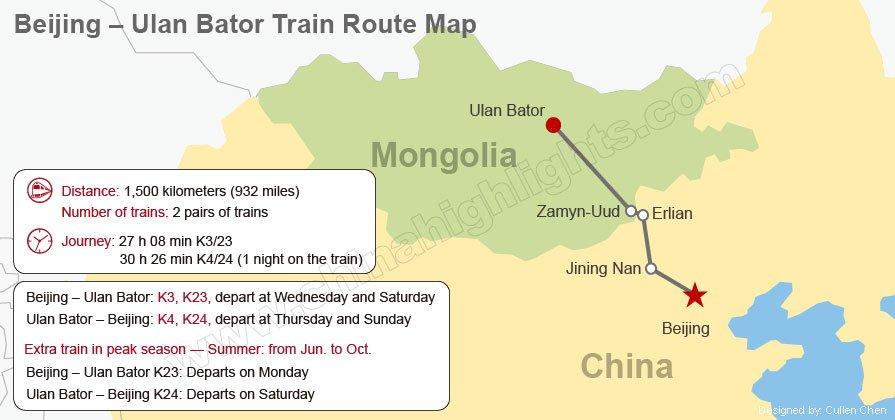 beijing -ulan bator train route map