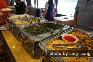 Chinese buffet lunch on a cruise boat