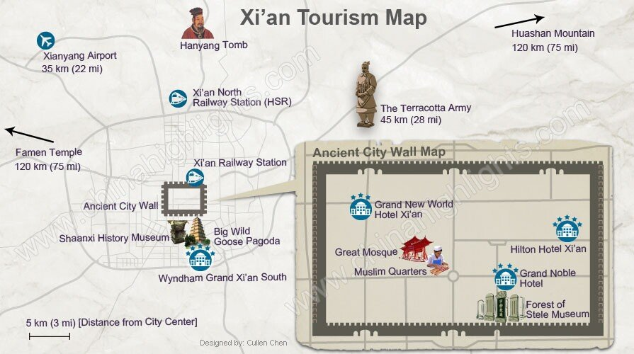 Xi\'an Map, Xi\'an Tourism Map and Terracotta Army Route Map