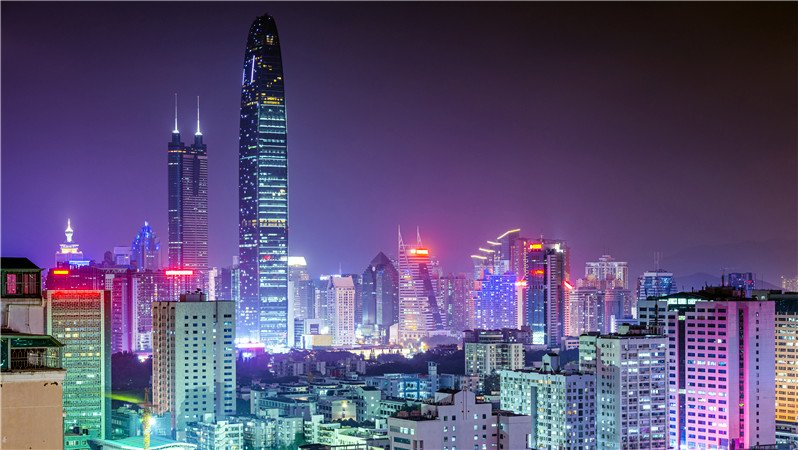 The night view of Shenzhen