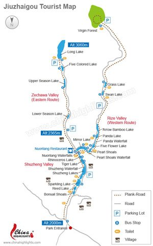 Jiuzhai Valley tourist map