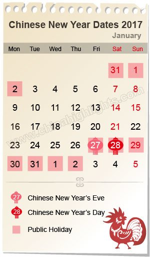 Chinese new year date 2017