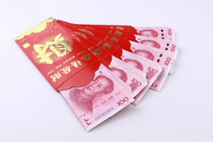 Hongbao - cash in red envelopes as gifts