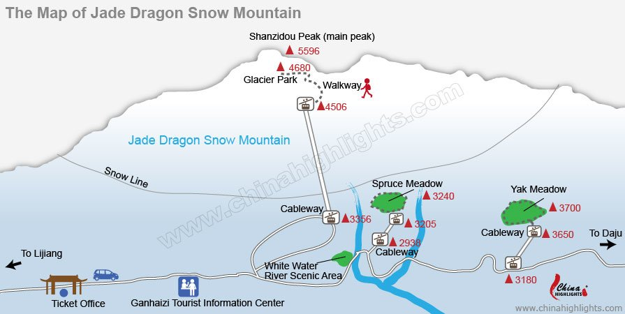 jade dragon snow moutain map