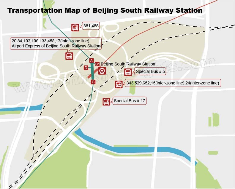 Bus Transportation Map of Beijing South Station