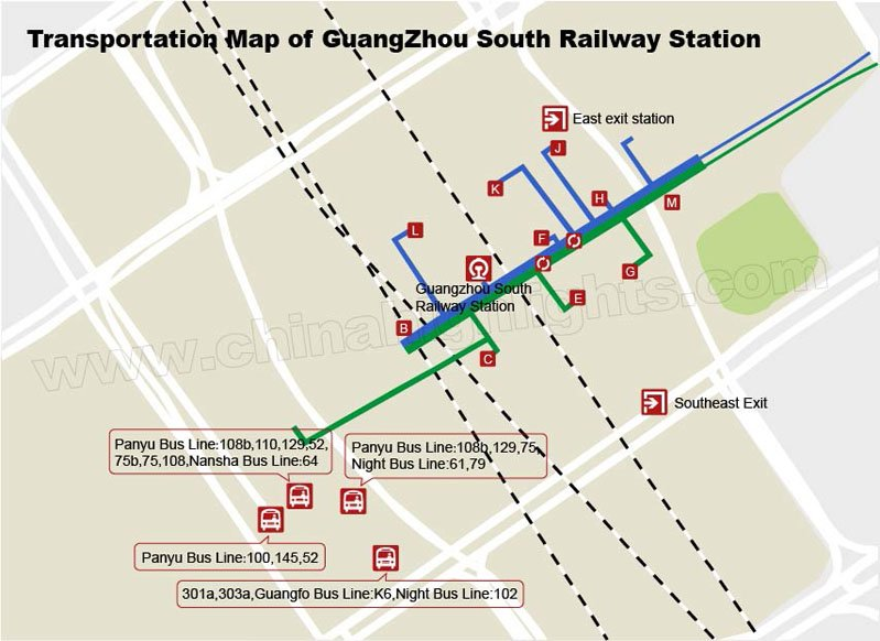 Transportation map of Guangzhou South Railway Station