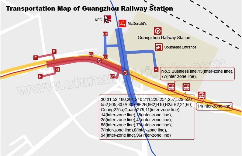 Bus Transportation Map of Guangzhou Station