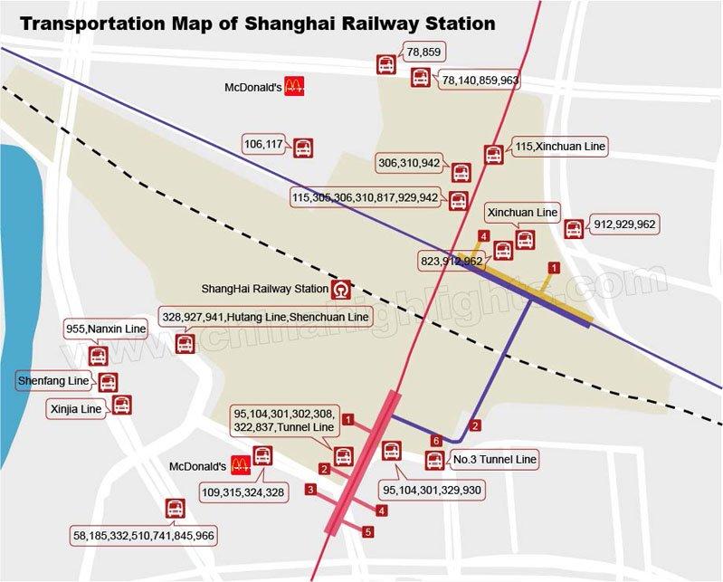 Shanghai Railway Station Subway Map.Shanghai Railway Station Guide Usage Maps Transport