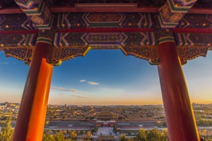 View over Beijing and the Forbidden City from Jingshan Park