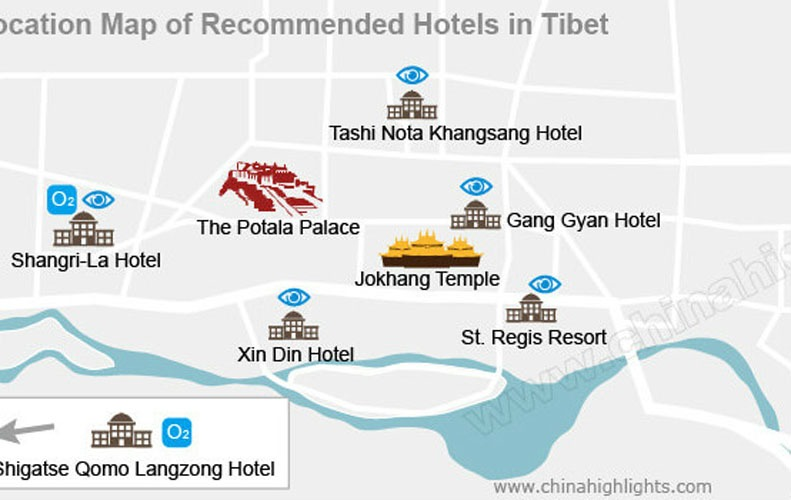 Location of hotels in Lhasa