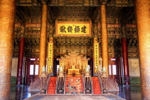 The emperor's throne in the Forbidden City