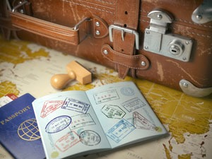 passport, visas, suitcase, map