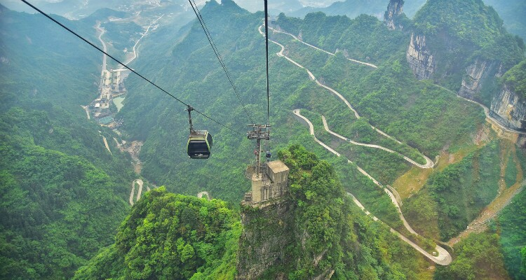 the world longest cable car at Tianmen Mountain
