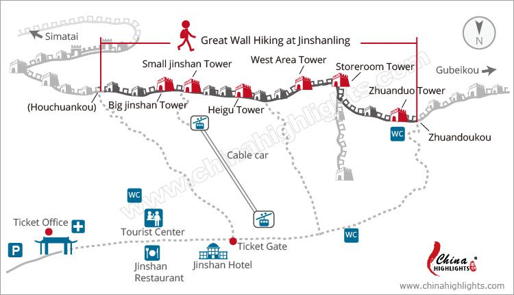 Great Wall Hiking Map at Jinshanling