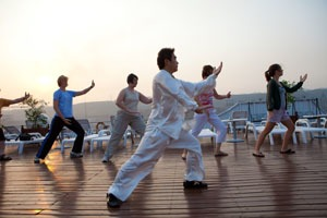 Tai chi on a cruise ship deck