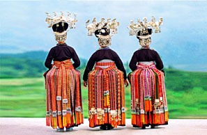 Beautiful costumes of Stone Bridge Miao Village