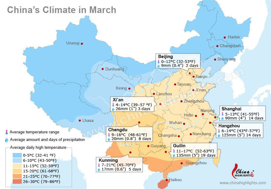China weather in march average temperature in major chinese cities china weather in march gumiabroncs Images