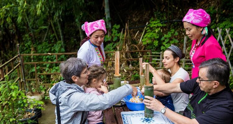 Making Bamboo Tube Rice
