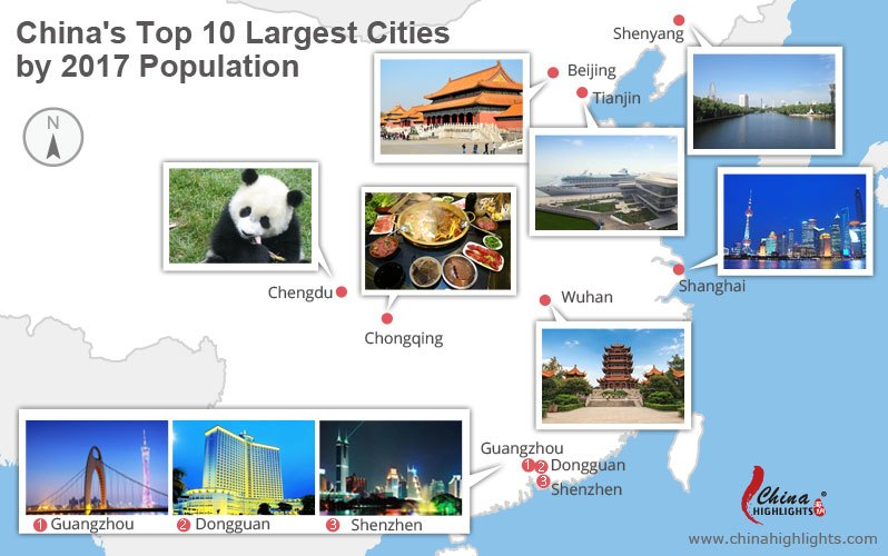 China's 10 Largest Cities map