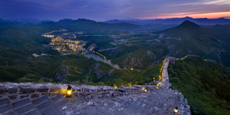 The night view of the Great Wall