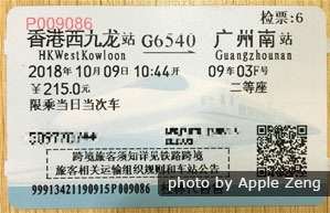 Hong Kong to Guangzhou train paper ticket, Hong Kong train ticket
