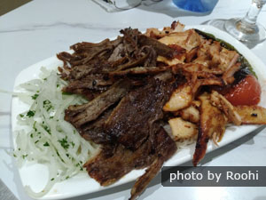 Chicken and lamb doner with rice