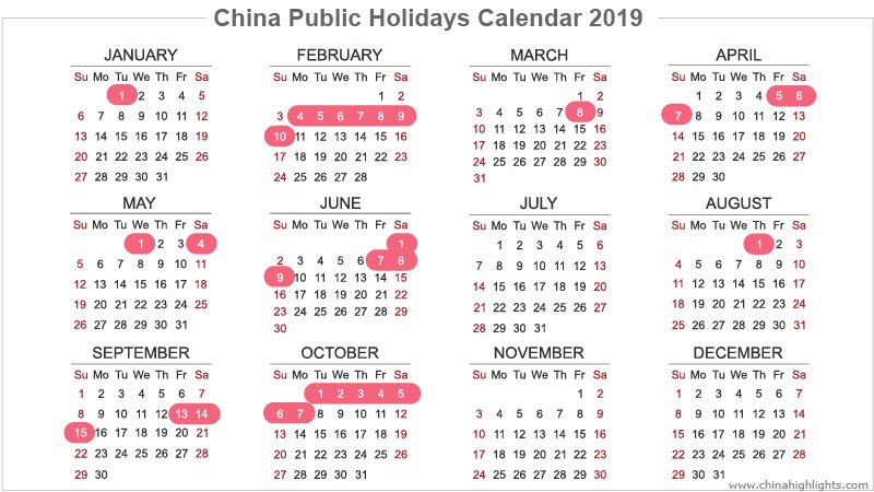 China Holidays Public Holidays Calendar In 2019 2020 2021