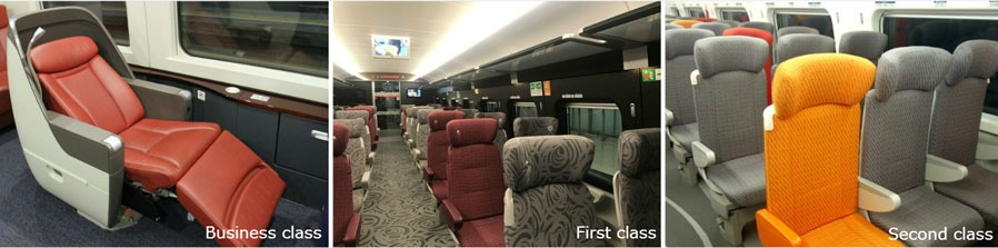 Seat types on Hong Kong - Guilin High-Speed Train
