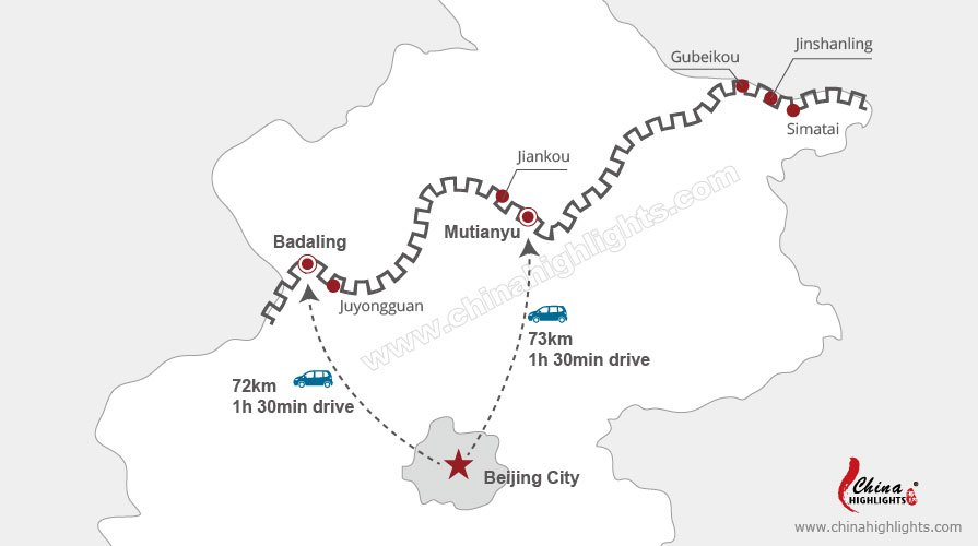 map of distance from beijing to badaling and mutianyu