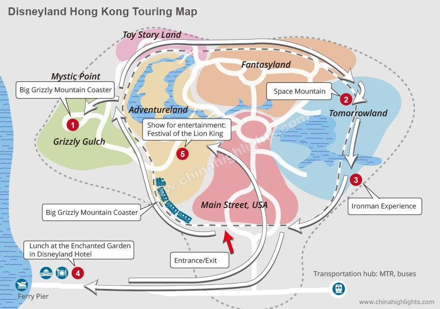 Disneyland Hong Kong Touring Map