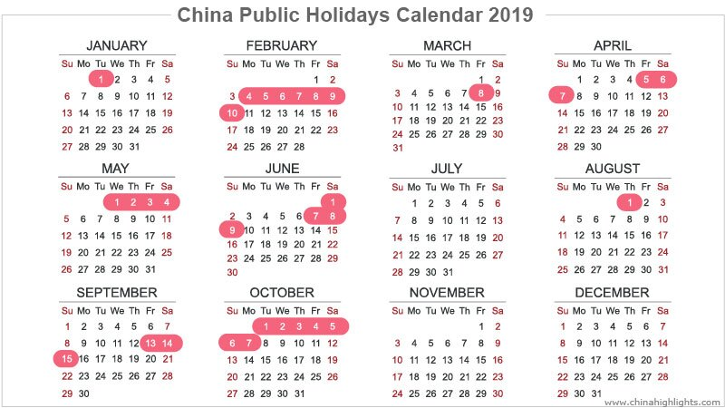 China Holidays 2019/2020/2021
