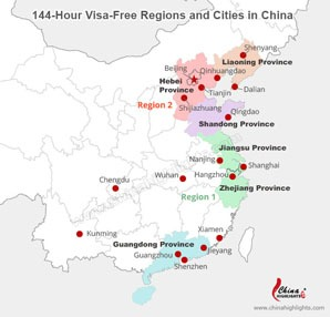 China Cities with 144-Hour Visa-Free Transit Policy