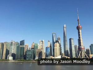 Shanghai skyline on a blue sky day