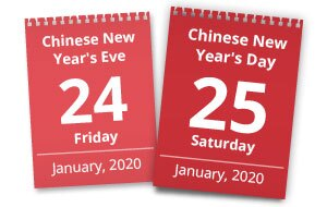 China New Year 2020 Date