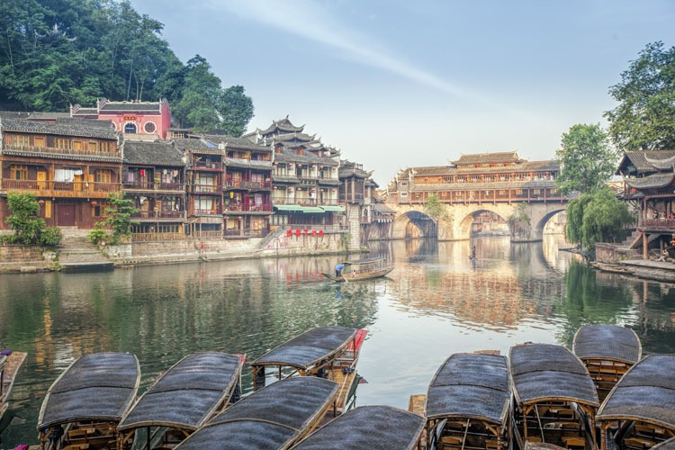 Dragon Boat Racing in Fenghuang Ancient Town