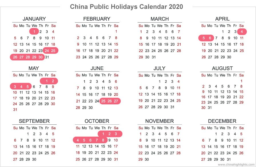 China's Public Holiday Calendar 2020