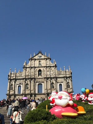 St Paul's Ruins Macau at Christmas