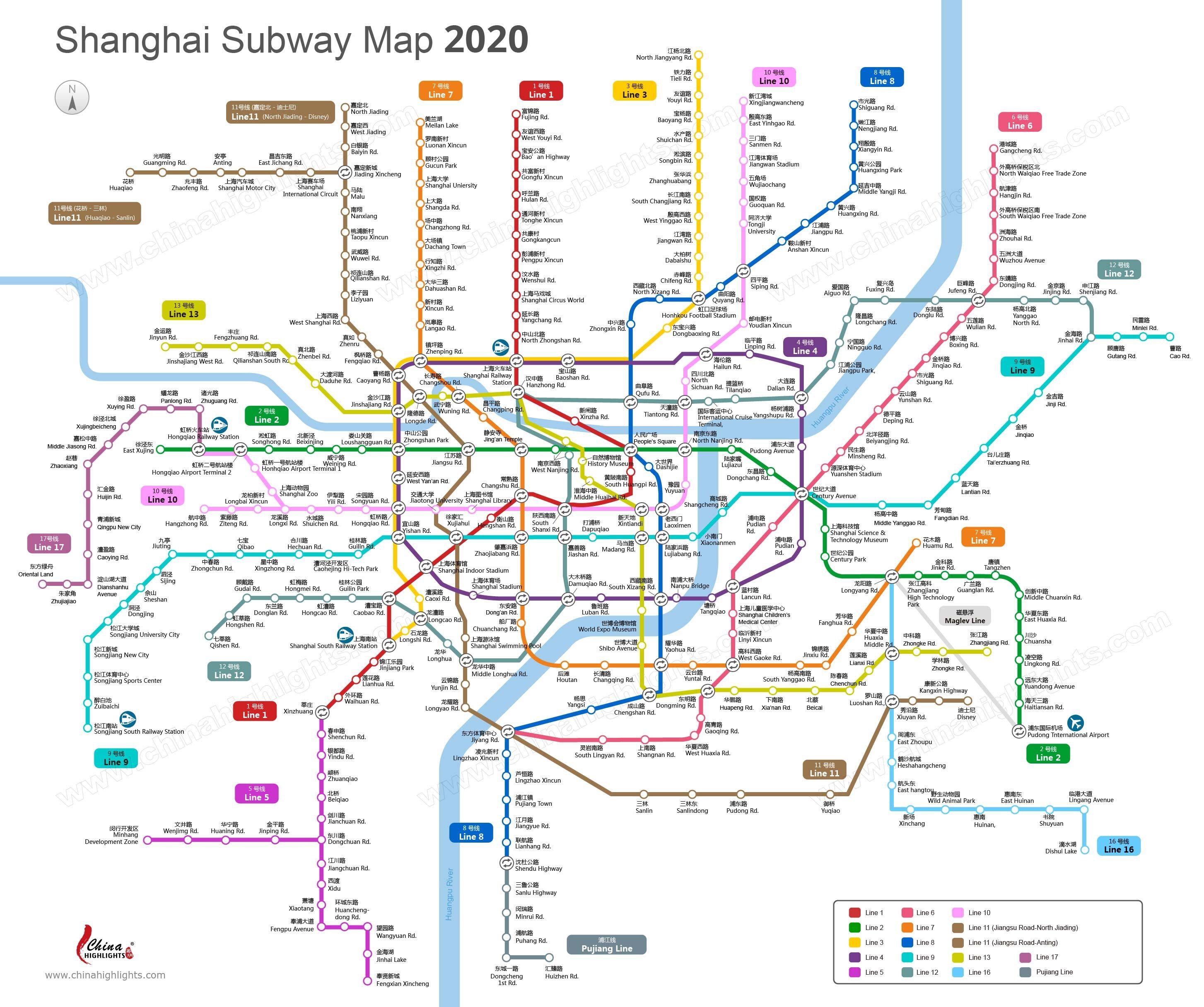 Subway Map Of Shanghai.Shanghai Subway Shanghai Metro Map Updated 2020