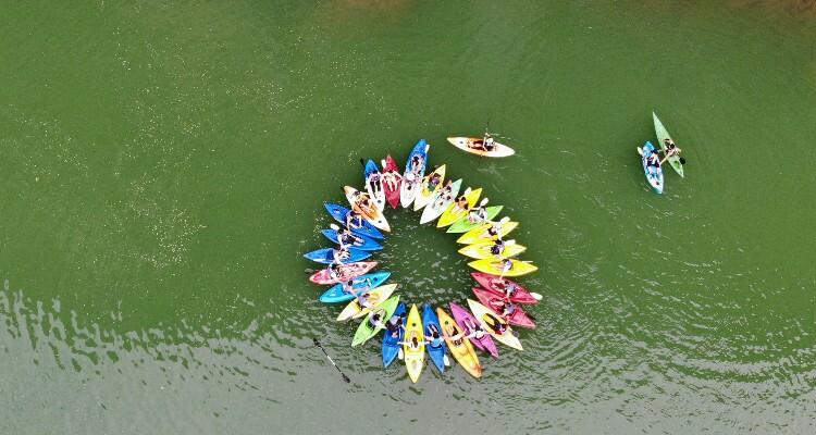 Kayaking on the tributary of Li River