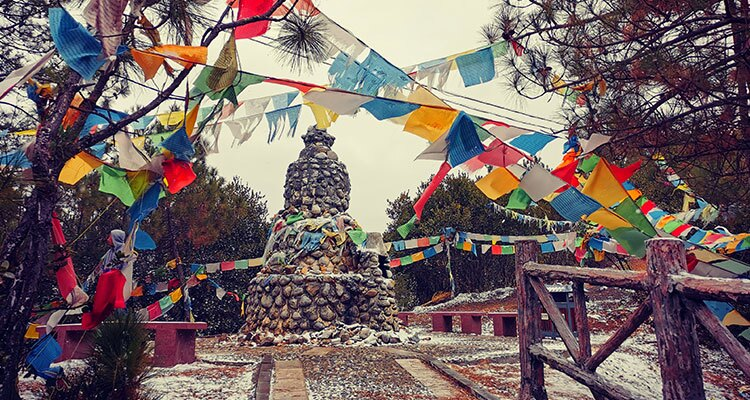 pagoda and prayer flags