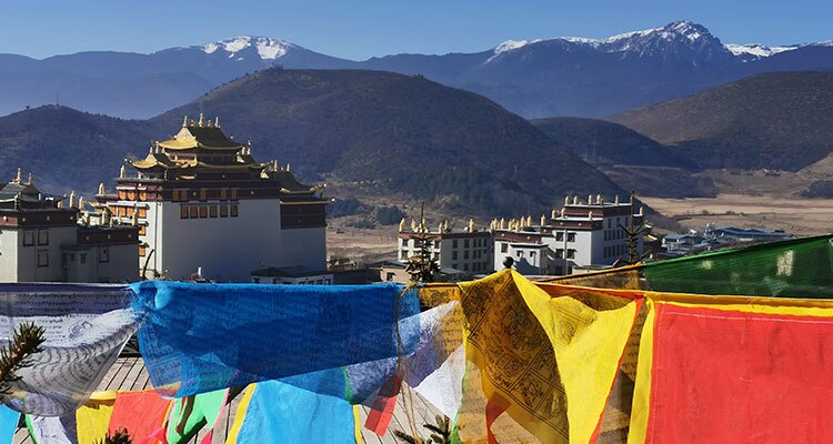 the coloerful prayer flags