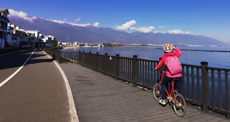 biking along the lake