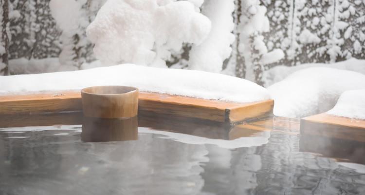 enjoy the hot spring in a snowy world