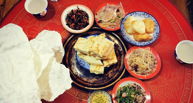 Tibetan food of a local family